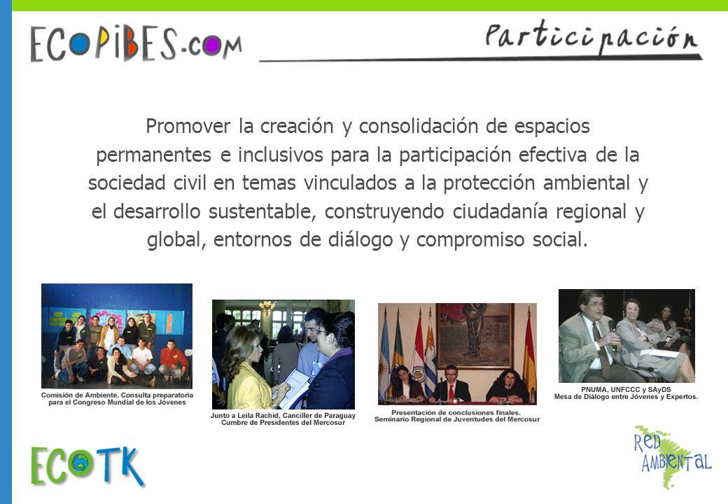 Promover la creación y consolidación de espacios permanentes e inclusivos para la participación efectiva de la sociedad civil en temas vinculados a la