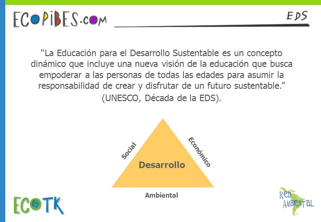 La Educación para el Desarrollo Sustentable es un concepto dinámico que incluye una nueva visión de la educación que busca empoderar a las personas de