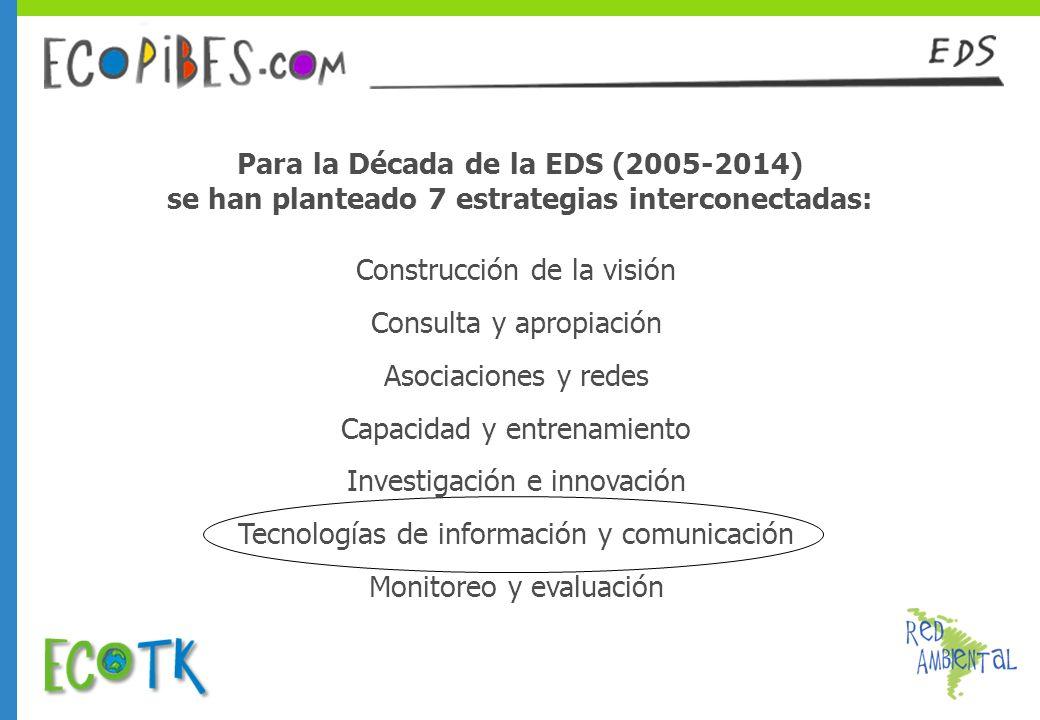 Para la Década de la EDS (2005-2014) se han planteado 7 estrategias interconectadas: Construcción de la visión Consulta y apropiación Asociaciones y r