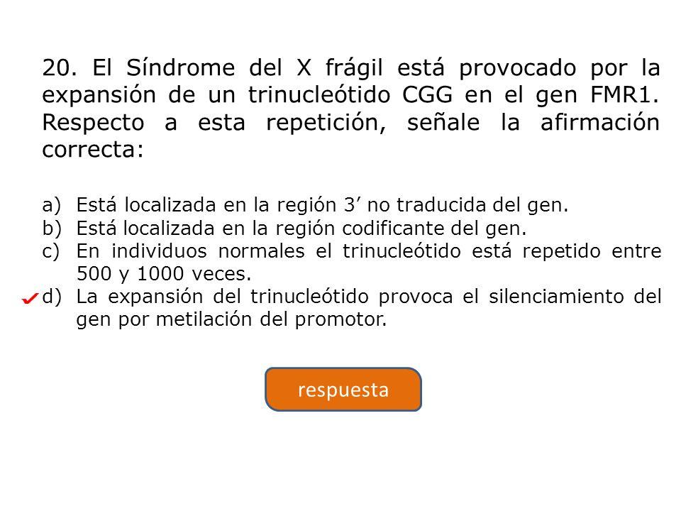 20. El Síndrome del X frágil está provocado por la expansión de un trinucleótido CGG en el gen FMR1. Respecto a esta repetición, señale la afirmación