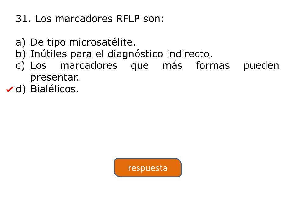 31.Los marcadores RFLP son: a)De tipo microsatélite.