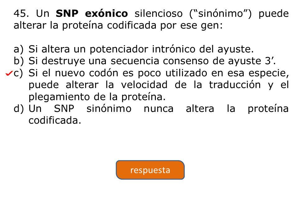 45. Un SNP exónico silencioso (sinónimo) puede alterar la proteína codificada por ese gen: a)Si altera un potenciador intrónico del ayuste. b)Si destr