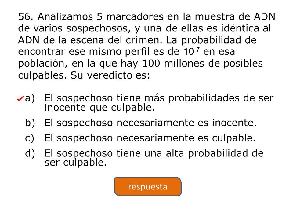 a)El sospechoso tiene más probabilidades de ser inocente que culpable.