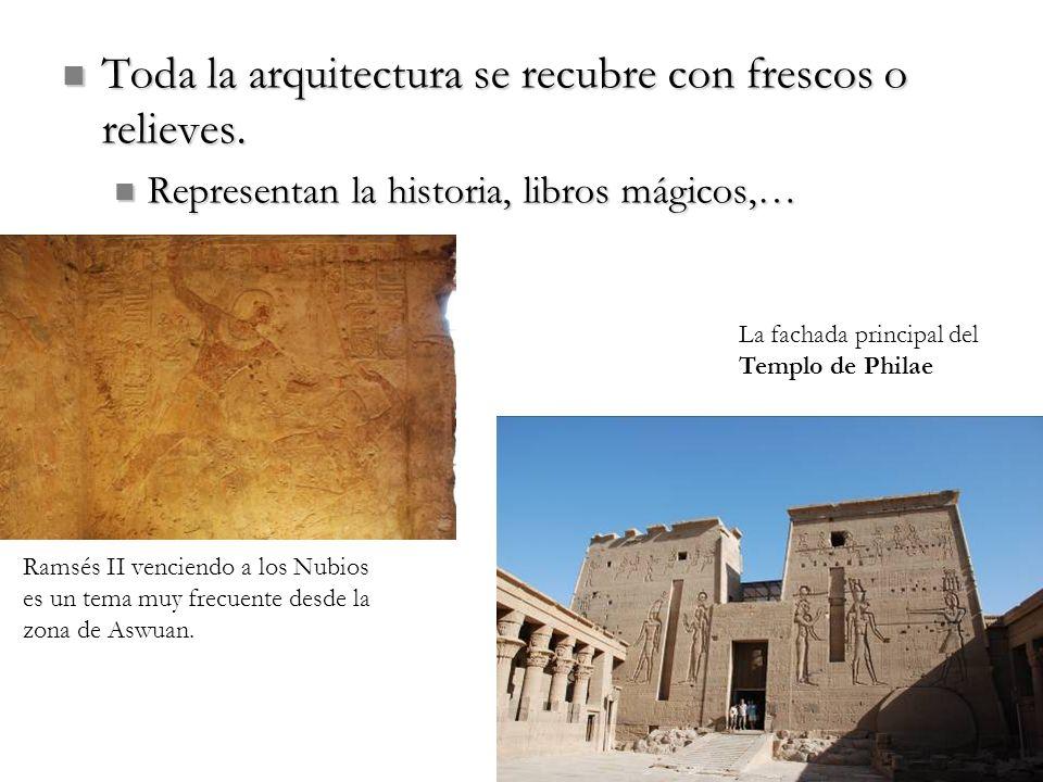 Toda la arquitectura se recubre con frescos o relieves. Toda la arquitectura se recubre con frescos o relieves. Representan la historia, libros mágico