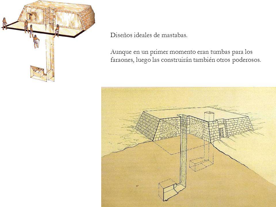 Diseños ideales de mastabas. Aunque en un primer momento eran tumbas para los faraones, luego las construirán también otros poderosos.