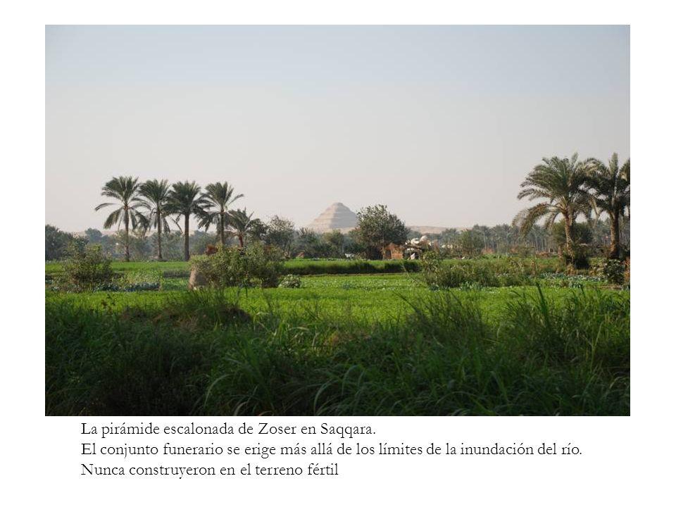 La pirámide escalonada de Zoser en Saqqara. El conjunto funerario se erige más allá de los límites de la inundación del río. Nunca construyeron en el