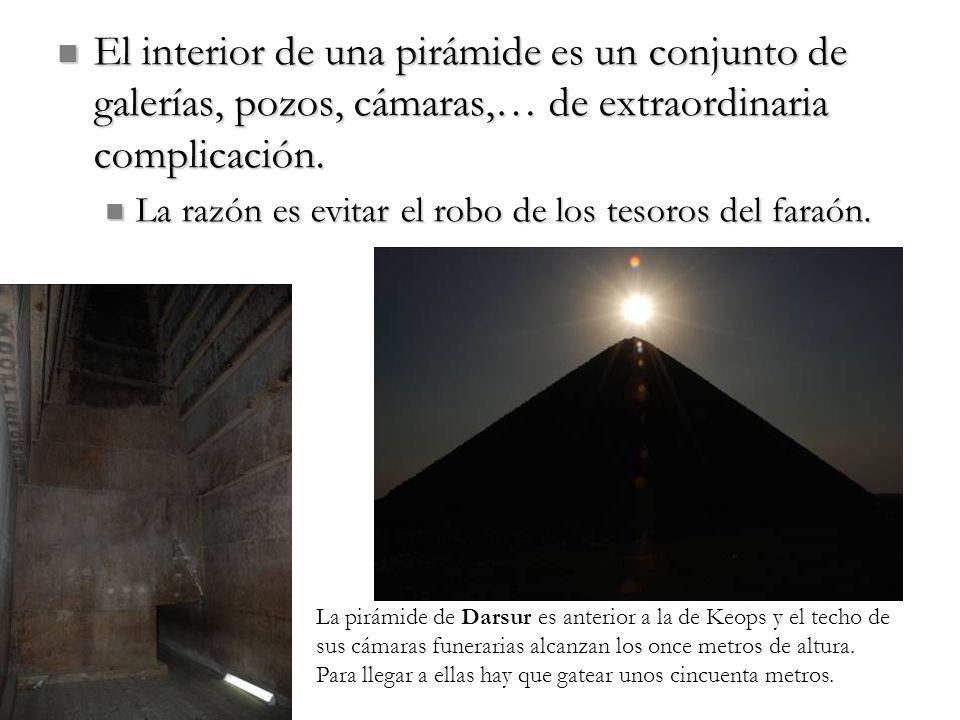 El interior de una pirámide es un conjunto de galerías, pozos, cámaras,… de extraordinaria complicación. El interior de una pirámide es un conjunto de