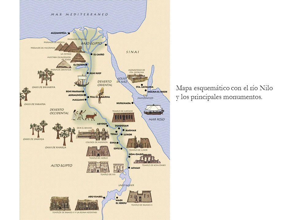 Mapa esquemático con el río Nilo y los principales monumentos.