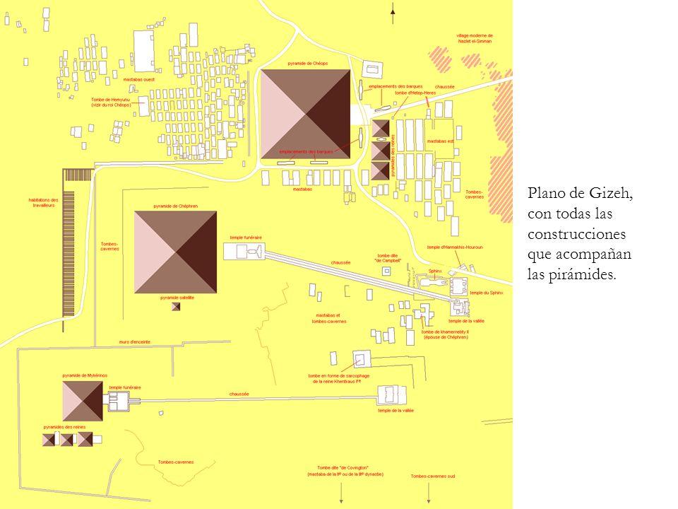 Plano de Gizeh, con todas las construcciones que acompañan las pirámides.