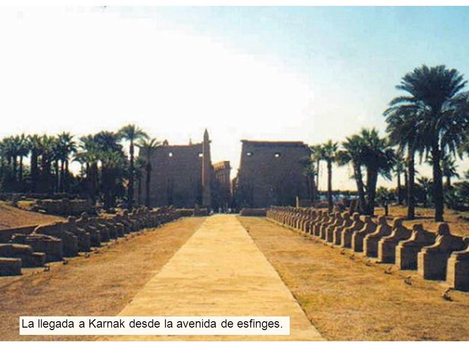 La llegada a Karnak desde la avenida de esfinges.