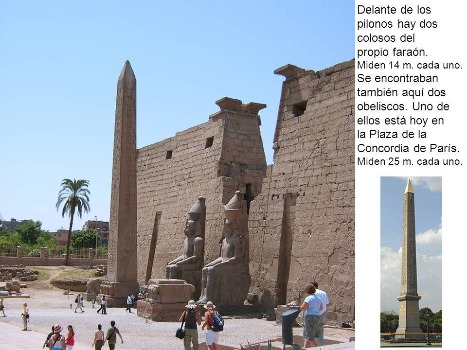 Delante de los pilonos hay dos colosos del propio faraón. Miden 14 m. cada uno. Se encontraban también aquí dos obeliscos. Uno de ellos está hoy en la