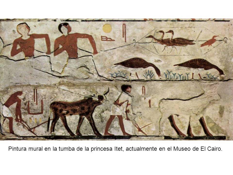 Pintura mural en la tumba de la princesa Itet, actualmente en el Museo de El Cairo.