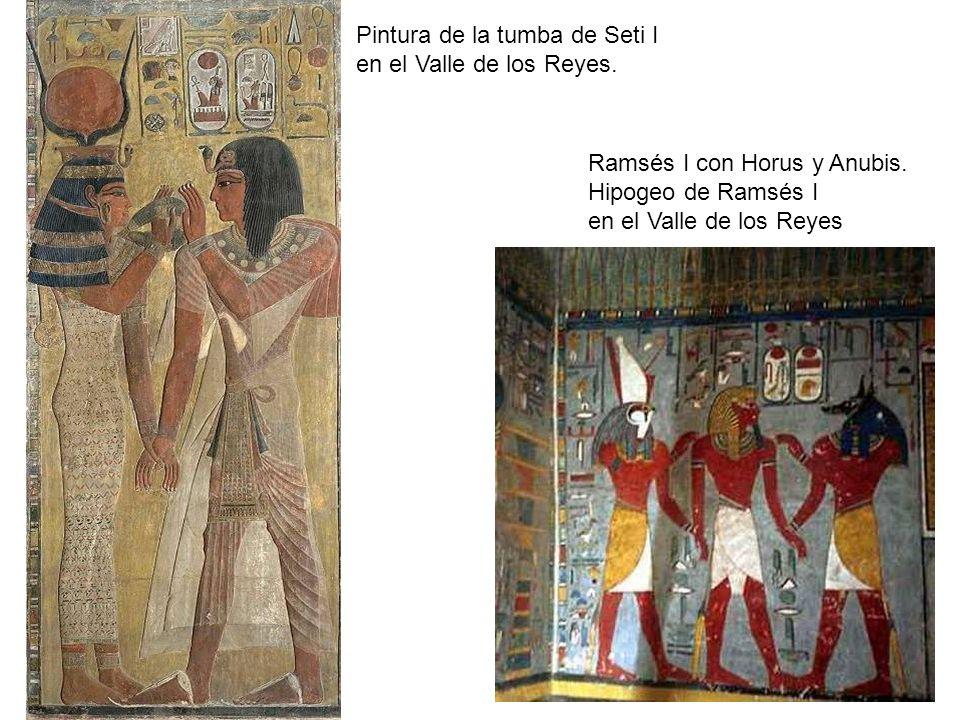 Pintura de la tumba de Seti I en el Valle de los Reyes. Ramsés I con Horus y Anubis. Hipogeo de Ramsés I en el Valle de los Reyes