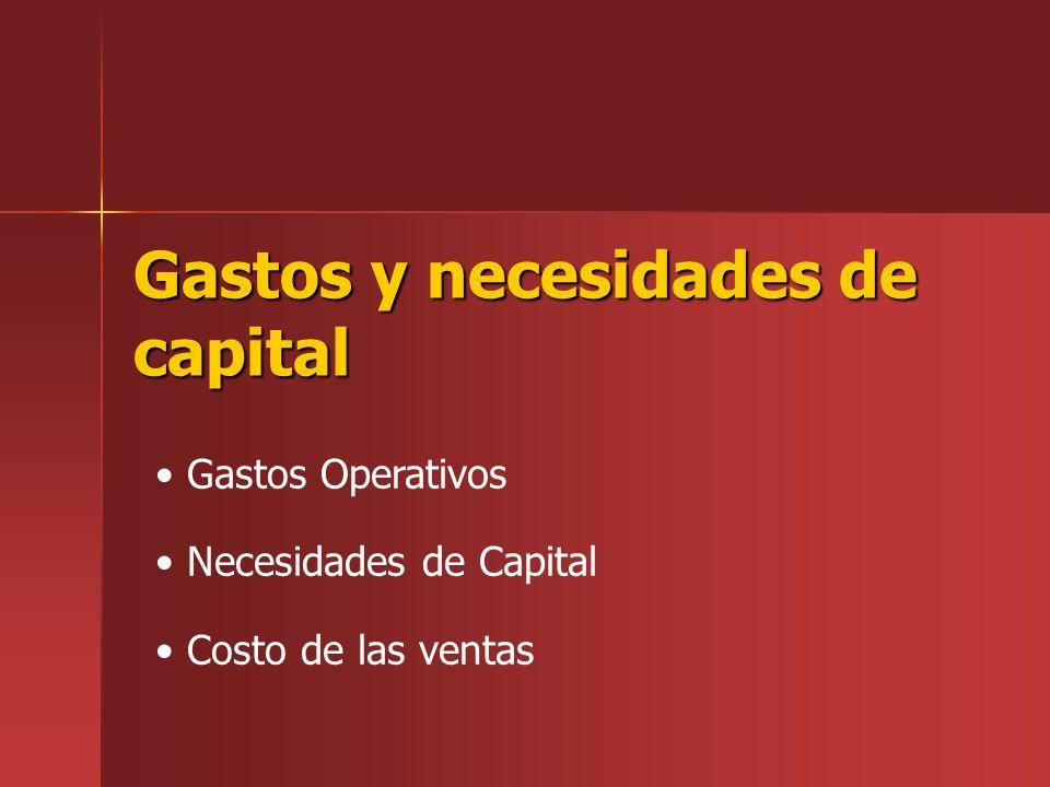Gastos y necesidades de capital Gastos Operativos Necesidades de Capital Costo de las ventas
