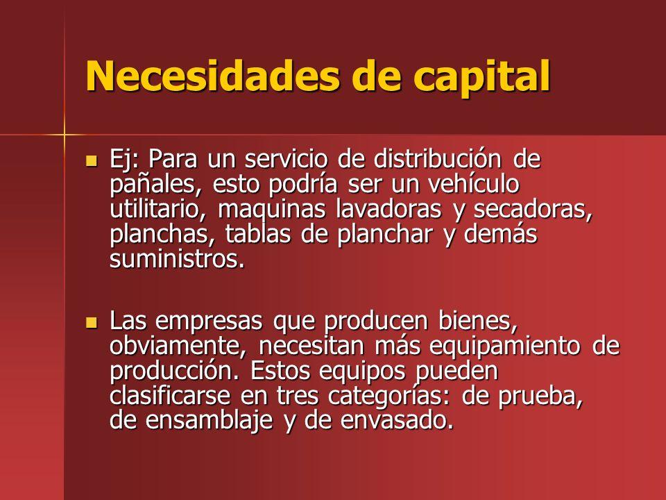Necesidades de capital Ej: Para un servicio de distribución de pañales, esto podría ser un vehículo utilitario, maquinas lavadoras y secadoras, planchas, tablas de planchar y demás suministros.