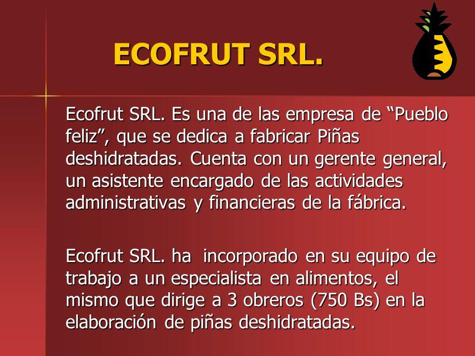 Ecofrut SRL.Es una de las empresa de Pueblo feliz, que se dedica a fabricar Piñas deshidratadas.