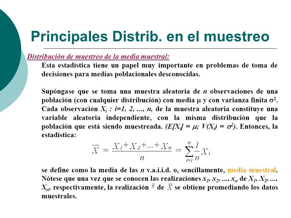 Principales Distrib. en el muestreo Distribución de muestreo de la media muestral: Esta estadística tiene un papel muy importante en problemas de toma