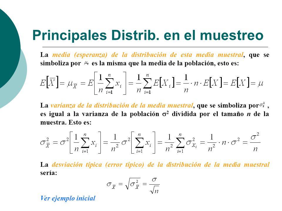Principales Distrib. en el muestreo La media (esperanza) de la distribución de esta media muestral, que se simboliza por es la misma que la media de l