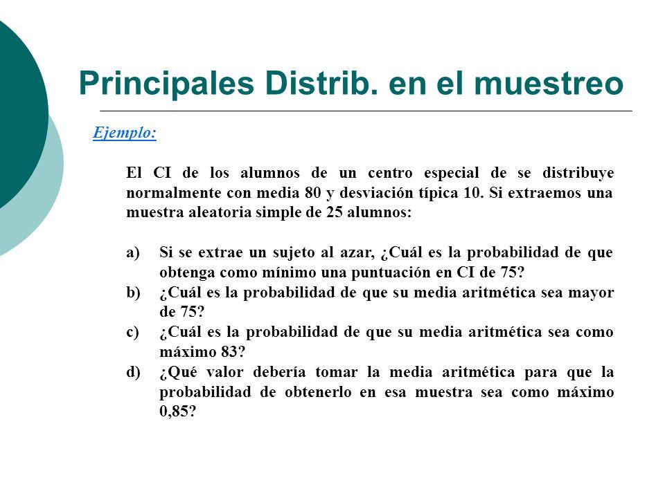 Principales Distrib. en el muestreo Ejemplo: El CI de los alumnos de un centro especial de se distribuye normalmente con media 80 y desviación típica