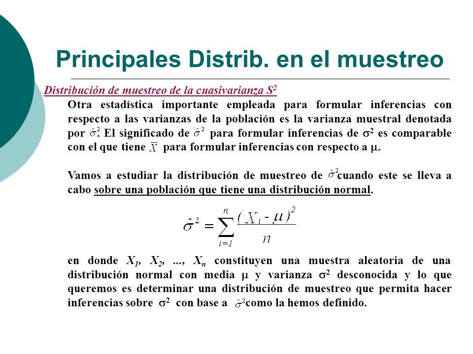 Principales Distrib. en el muestreo Distribución de muestreo de la cuasivarianza S 2 Otra estadística importante empleada para formular inferencias co
