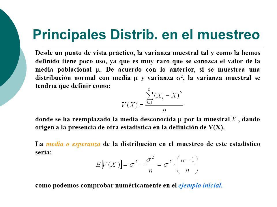 Principales Distrib. en el muestreo Desde un punto de vista práctico, la varianza muestral tal y como la hemos definido tiene poco uso, ya que es muy
