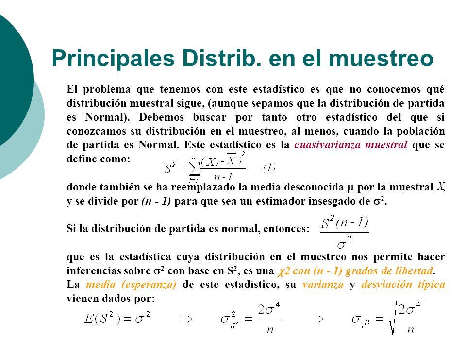 Principales Distrib. en el muestreo El problema que tenemos con este estadístico es que no conocemos qué distribución muestral sigue, (aunque sepamos
