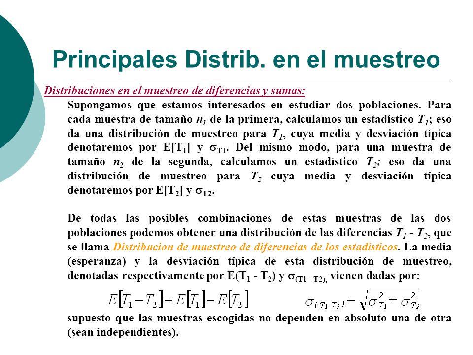 Principales Distrib. en el muestreo Distribuciones en el muestreo de diferencias y sumas: Supongamos que estamos interesados en estudiar dos poblacion