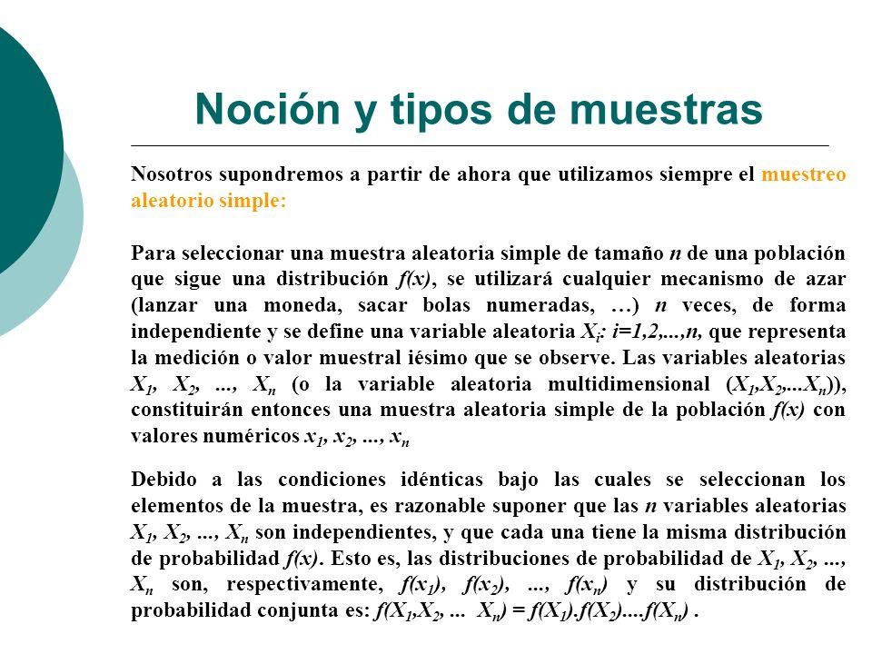 Estadísticos o Estimadores Un parámetro es una caracterización numérica de la distribución de la población (esperanza, varianza,…).