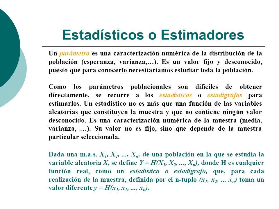 Estadísticos o Estimadores De acuerdo con esta definición un estadigrafo es una variable aleatoria que, como tal, tiene una distribución de probabilidad (con su media, su varianza, etc…), que se conoce como distribución en el muestreo o distribución muestral.