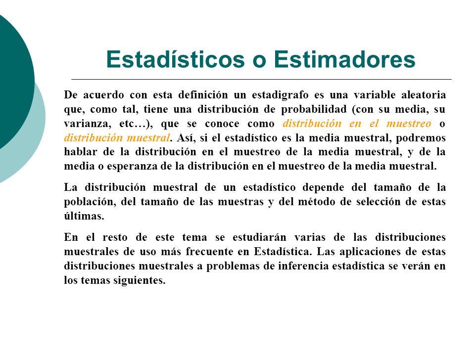 Estadísticos o Estimadores De acuerdo con esta definición un estadigrafo es una variable aleatoria que, como tal, tiene una distribución de probabilid