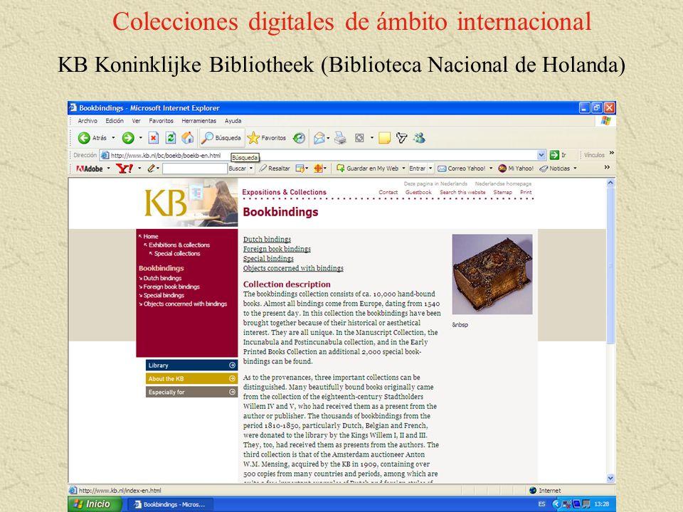 Colecciones digitales de ámbito internacional KB Koninklijke Bibliotheek (Biblioteca Nacional de Holanda)