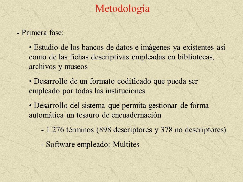 Metodología - Primera fase: Estudio de los bancos de datos e imágenes ya existentes así como de las fichas descriptivas empleadas en bibliotecas, arch