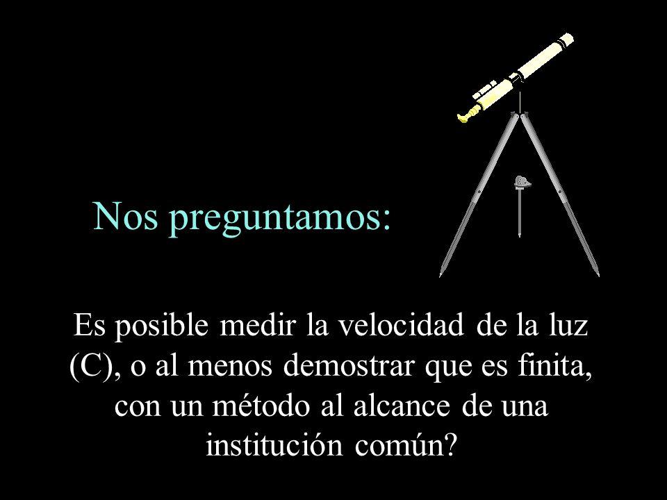 Nos preguntamos: Es posible medir la velocidad de la luz (C), o al menos demostrar que es finita, con un método al alcance de una institución común?