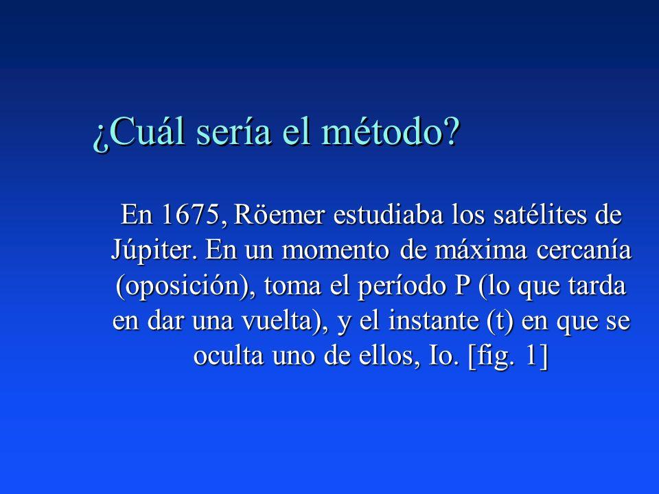 ¿Cuál sería el método? En 1675, Röemer estudiaba los satélites de Júpiter. En un momento de máxima cercanía (oposición), toma el período P (lo que tar