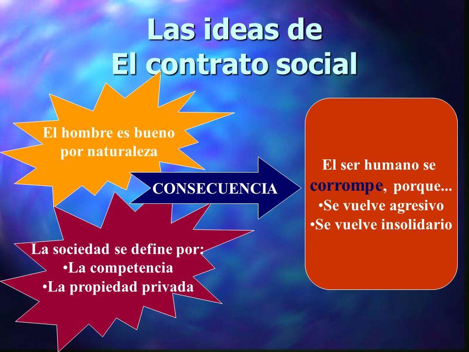 Las ideas de El contrato social El hombre es bueno por naturaleza La sociedad se define por: La competencia La propiedad privada CONSECUENCIA El ser humano se corrompe, porque...
