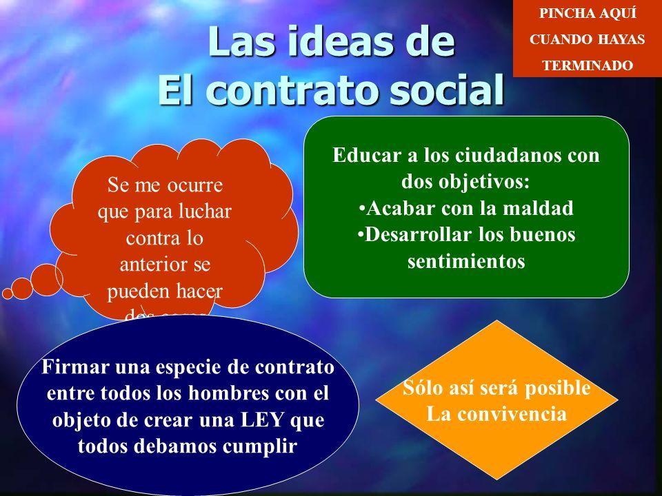 Las ideas de El contrato social El hombre es bueno por naturaleza La sociedad se define por: La competencia La propiedad privada CONSECUENCIA El ser h