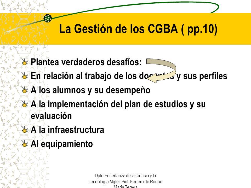 Dpto Enseñanza de la Ciencia y la Tecnología Mgter. Biól. Ferrero de Roqué María Teresa La Gestión de los CGBA ( pp.10) Plantea verdaderos desafíos: E