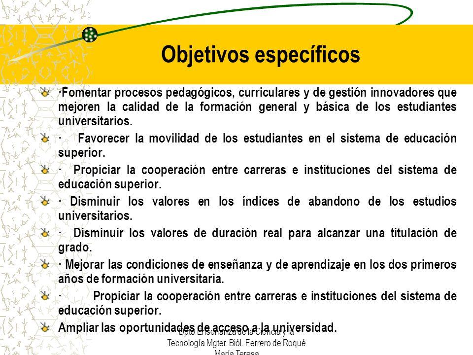 Dpto Enseñanza de la Ciencia y la Tecnología Mgter.