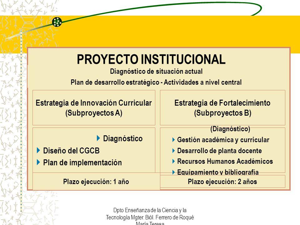 Dpto Enseñanza de la Ciencia y la Tecnología Mgter. Biól. Ferrero de Roqué María Teresa PROYECTO INSTITUCIONAL Estrategia de Innovación Curricular (Su