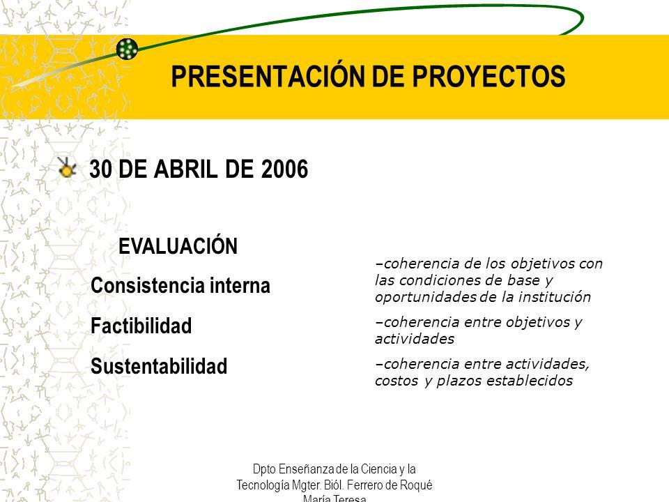 Dpto Enseñanza de la Ciencia y la Tecnología Mgter. Biól. Ferrero de Roqué María Teresa PRESENTACIÓN DE PROYECTOS 30 DE ABRIL DE 2006 –coherencia de l