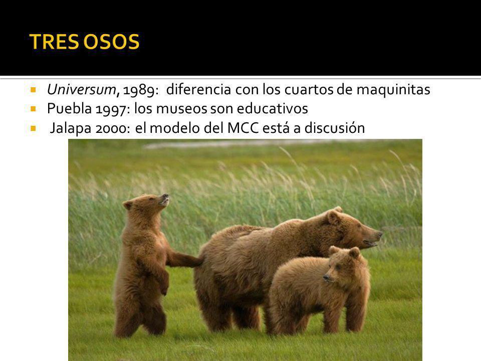 Universum, 1989: diferencia con los cuartos de maquinitas Puebla 1997: los museos son educativos Jalapa 2000: el modelo del MCC está a discusión