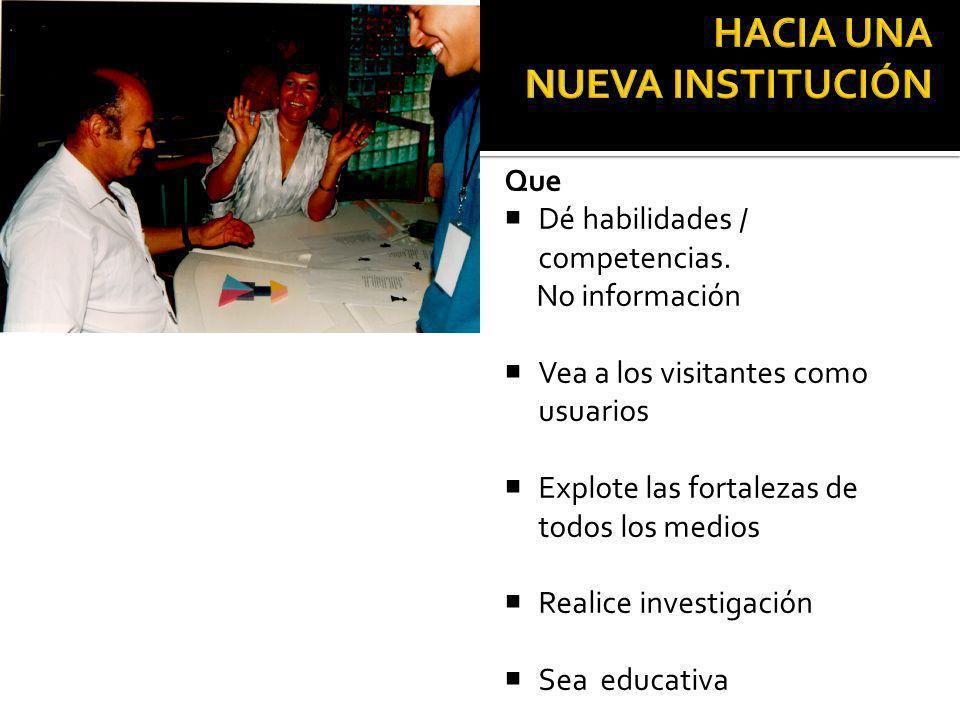 El futuro y supervivencia del museo y su justificación social Que Dé habilidades / competencias.