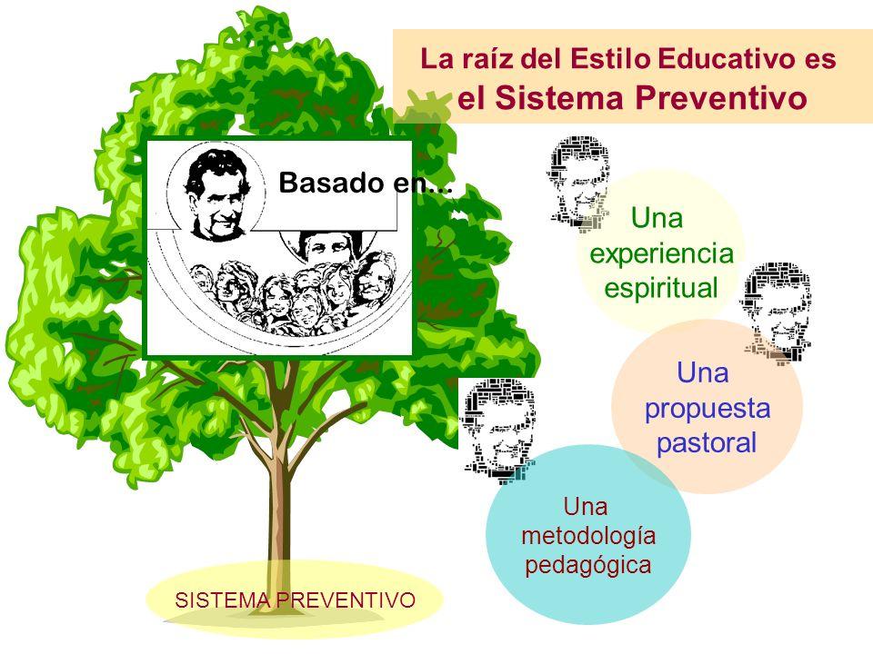 SISTEMA PREVENTIVO La raíz del Estilo Educativo es el Sistema Preventivo Una experiencia espiritual Una propuesta pastoral Una metodología pedagógica Basado en...