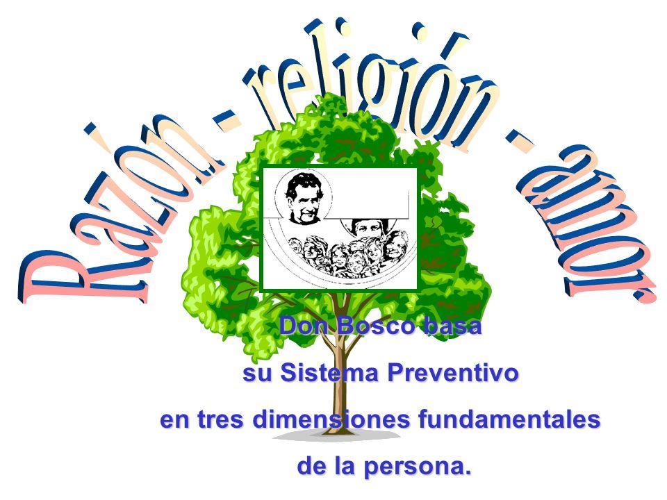 Don Bosco basa su Sistema Preventivo en tres dimensiones fundamentales de la persona.