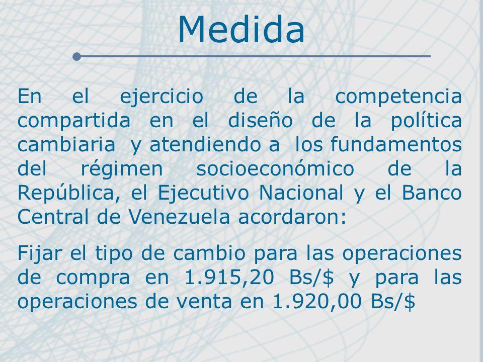 Medida En el ejercicio de la competencia compartida en el diseño de la política cambiaria y atendiendo a los fundamentos del régimen socioeconómico de la República, el Ejecutivo Nacional y el Banco Central de Venezuela acordaron: Fijar el tipo de cambio para las operaciones de compra en 1.915,20 Bs/$ y para las operaciones de venta en 1.920,00 Bs/$
