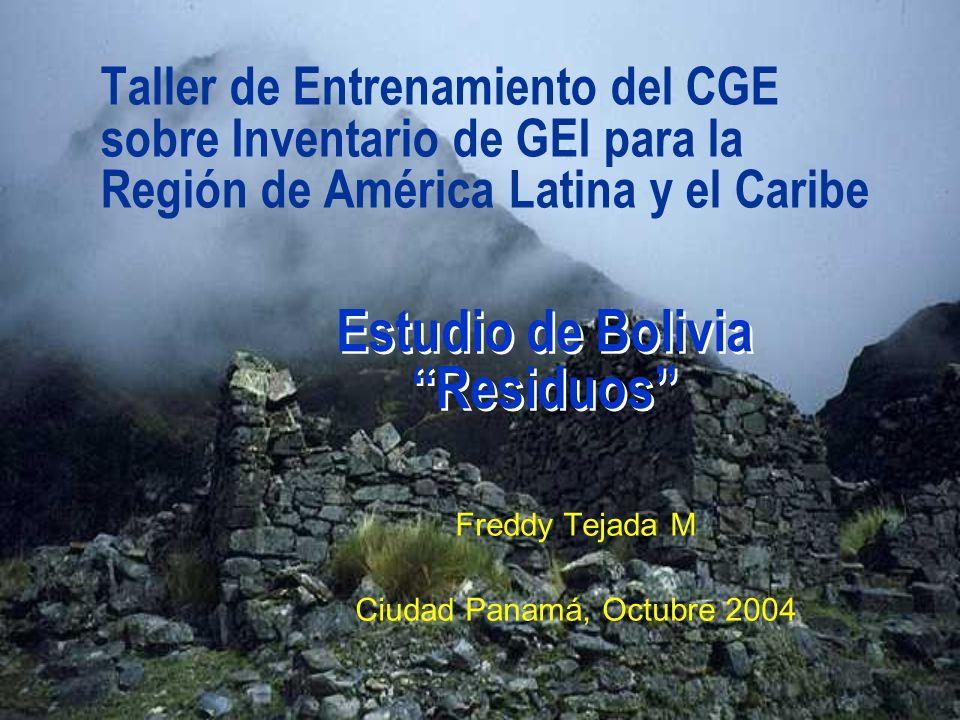 Taller de Entrenamiento del CGE sobre Inventario de GEI para la Región de América Latina y el Caribe Freddy Tejada M Ciudad Panamá, Octubre 2004 Estud