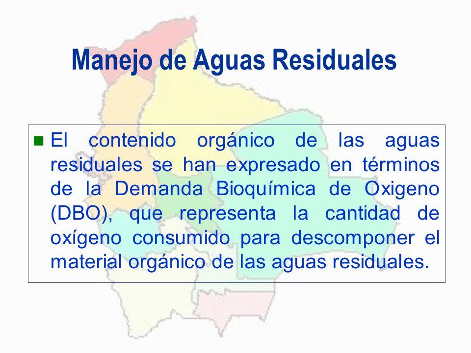 Manejo de Aguas Residuales El contenido orgánico de las aguas residuales se han expresado en términos de la Demanda Bioquímica de Oxigeno (DBO), que r