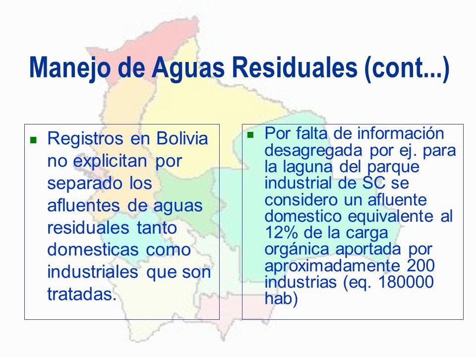 Manejo de Aguas Residuales (cont...) Registros en Bolivia no explicitan por separado los afluentes de aguas residuales tanto domesticas como industria