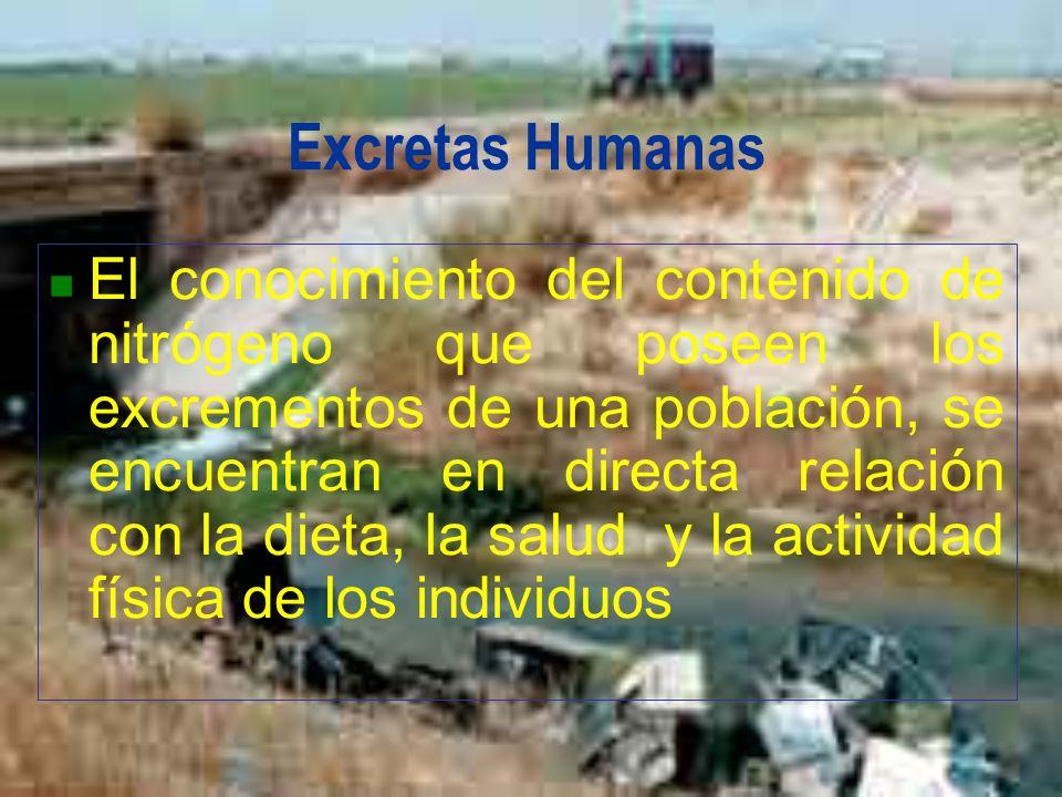 Excretas Humanas El conocimiento del contenido de nitrógeno que poseen los excrementos de una población, se encuentran en directa relación con la diet