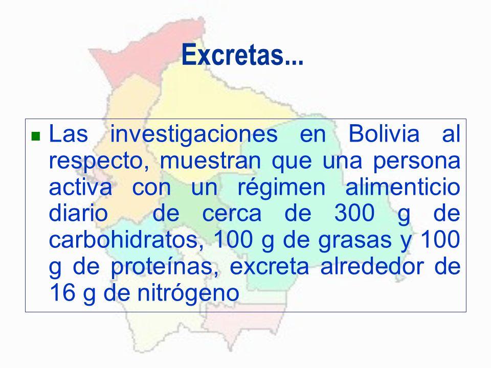 Excretas... Las investigaciones en Bolivia al respecto, muestran que una persona activa con un régimen alimenticio diario de cerca de 300 g de carbohi
